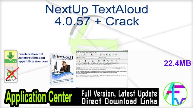 NextUp TextAloud 4.0.57 + Crack