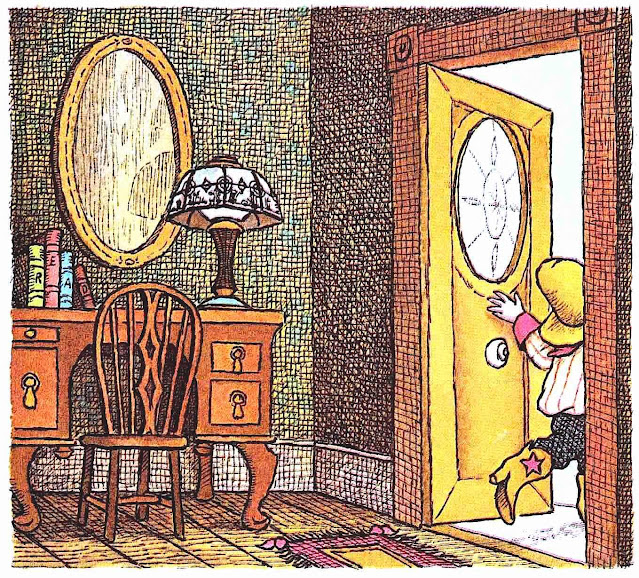 a 1970 Mercer Mayer color illustration of a boy leaving his house as a cowboy, with cross hatching