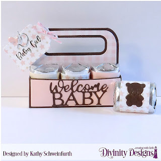 Divinity Designs Stamp Set: Sweet Baby, Custom Dies: Baby Blessings, Candy Carrier,  Paper Collection: Baby Girl