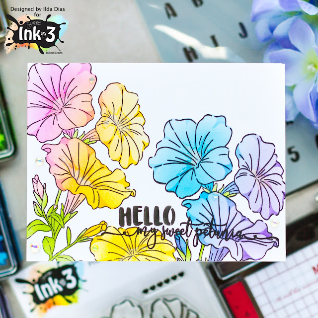 Sweet Petunia, Friendship Cards,Ink On 3, Instagram Hop, Stencil, Atelier Inks,Ink Blending, New Mini Misti, Card Making, Stamping, Die Cutting, handmade card, ilovedoingallthingscrafty, Stamps, how to,