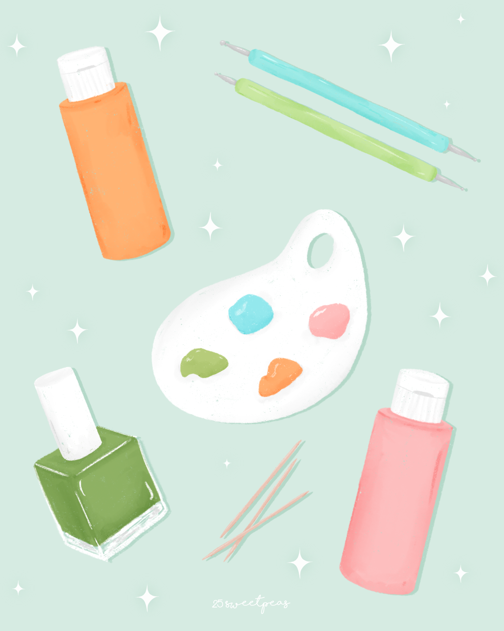 Acrylic Paint VS Nail Polish for Nail Art Details 25 Sweetpeas