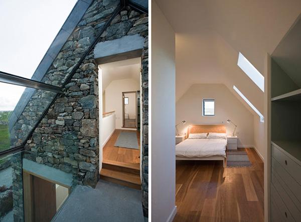 Desain Dua Rumah Batu Yang Terhubung Oleh Tangga Kaca | Desain Rumah