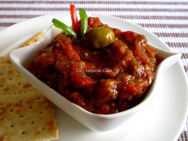 Baba ghanoush con pimientos asados