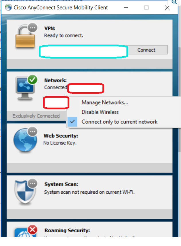 cisco anytime connect not working