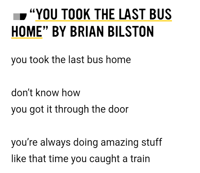 """You Took the Last Bus Home"" by Brian Bilston  - Examples of Free Verse Poem"