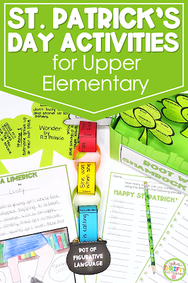 In search of ELA St. Patrick's Day Activities for Upper Elementary students? Here are 5 activities that will engage them while covering the standards.
