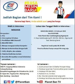 Lowongan Kerja Planet Ban 2020 Area Bandung