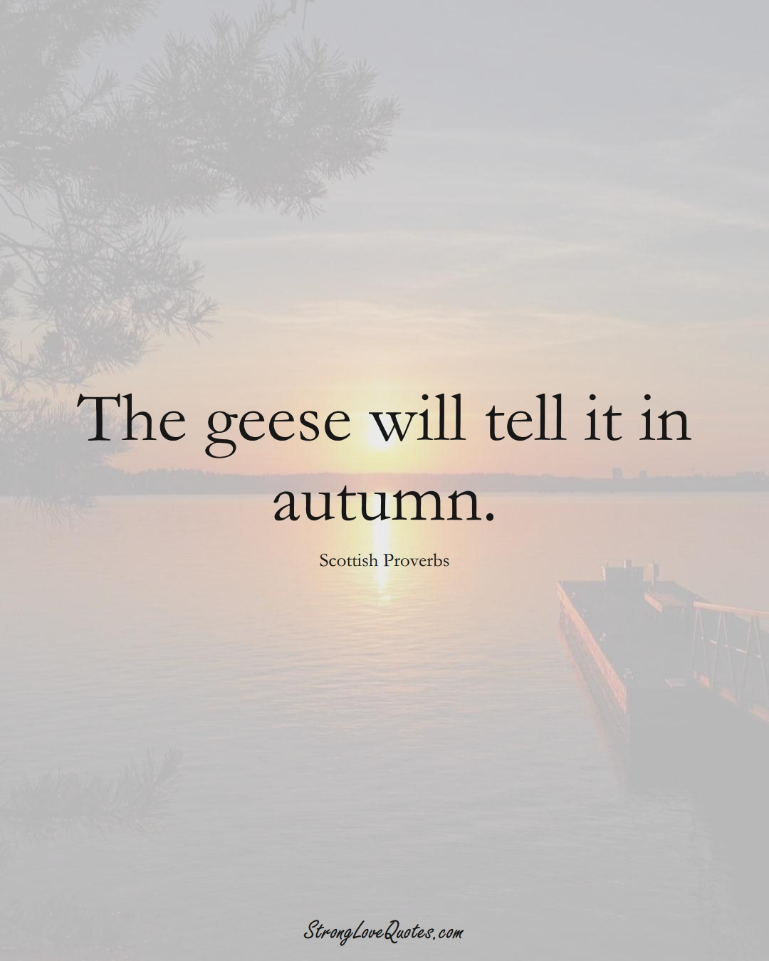 The geese will tell it in autumn. (Scottish Sayings);  #EuropeanSayings