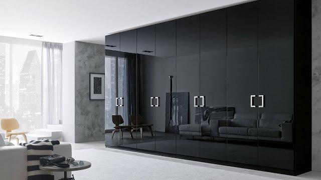 Black wardrobe design for bedroom