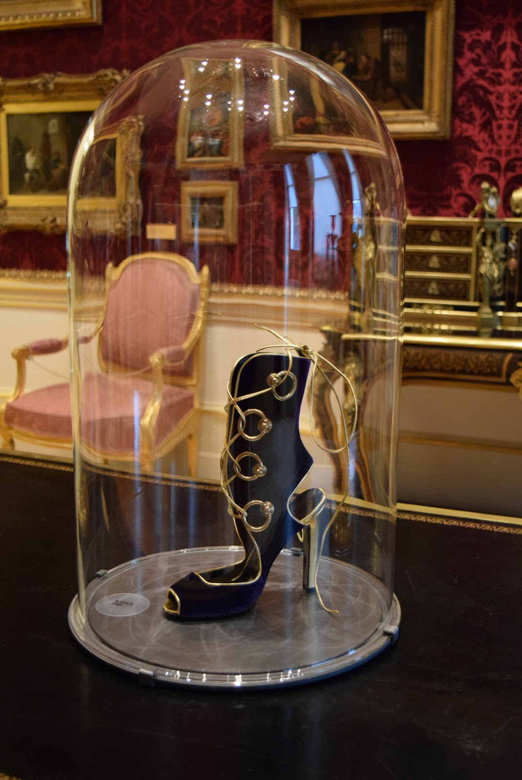 Manolo Blahnik black lace up boot exhibition
