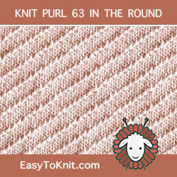 Right Diagonal Knit Purl, easy to knit in the round