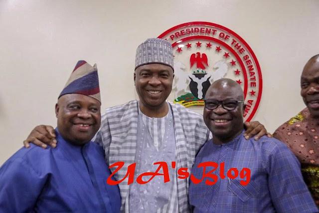 Osun Guber: Saraki completes first PDP assignment, unites Ogunbiyi, Adeleke ahead of elections [PHOTOS]