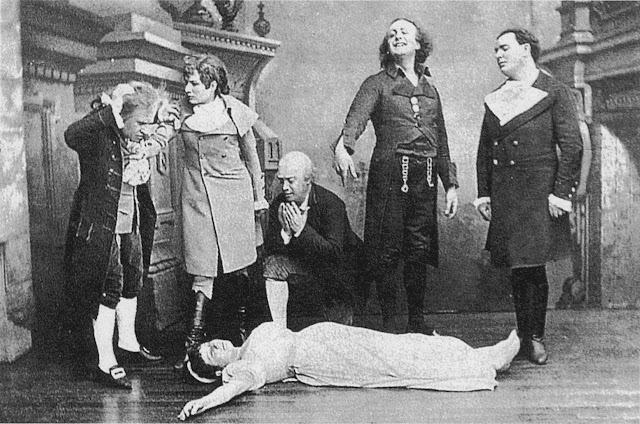 The Tales of Hoffmann – scene from the premiere, showing Adèle Isaac as the dead Antonia,