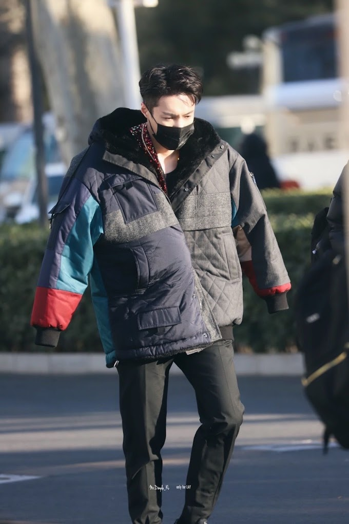[FANTAKEN/FANCAM] 210201 Lay on his way to rehearse for 'CCTV Spring Festival Gala'