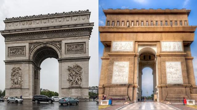 Arc de Triomphe (kiri) dan Simpang Lima Gumul (kanan)