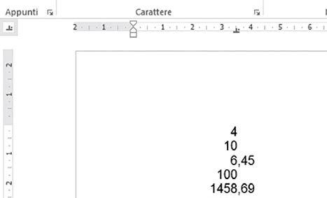 tabulazione decimale word