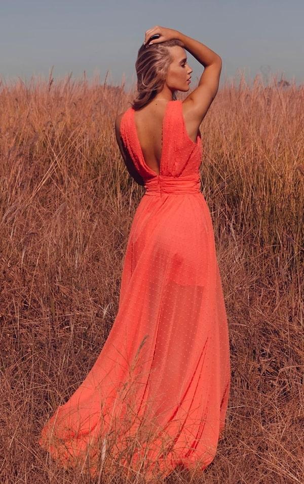 vestido de festa longo laranja de tule de poá