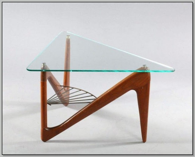 Triangle Glass And Wood Coffee Table