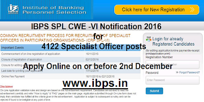 IBPS SPL CWE-VI Notification 2016