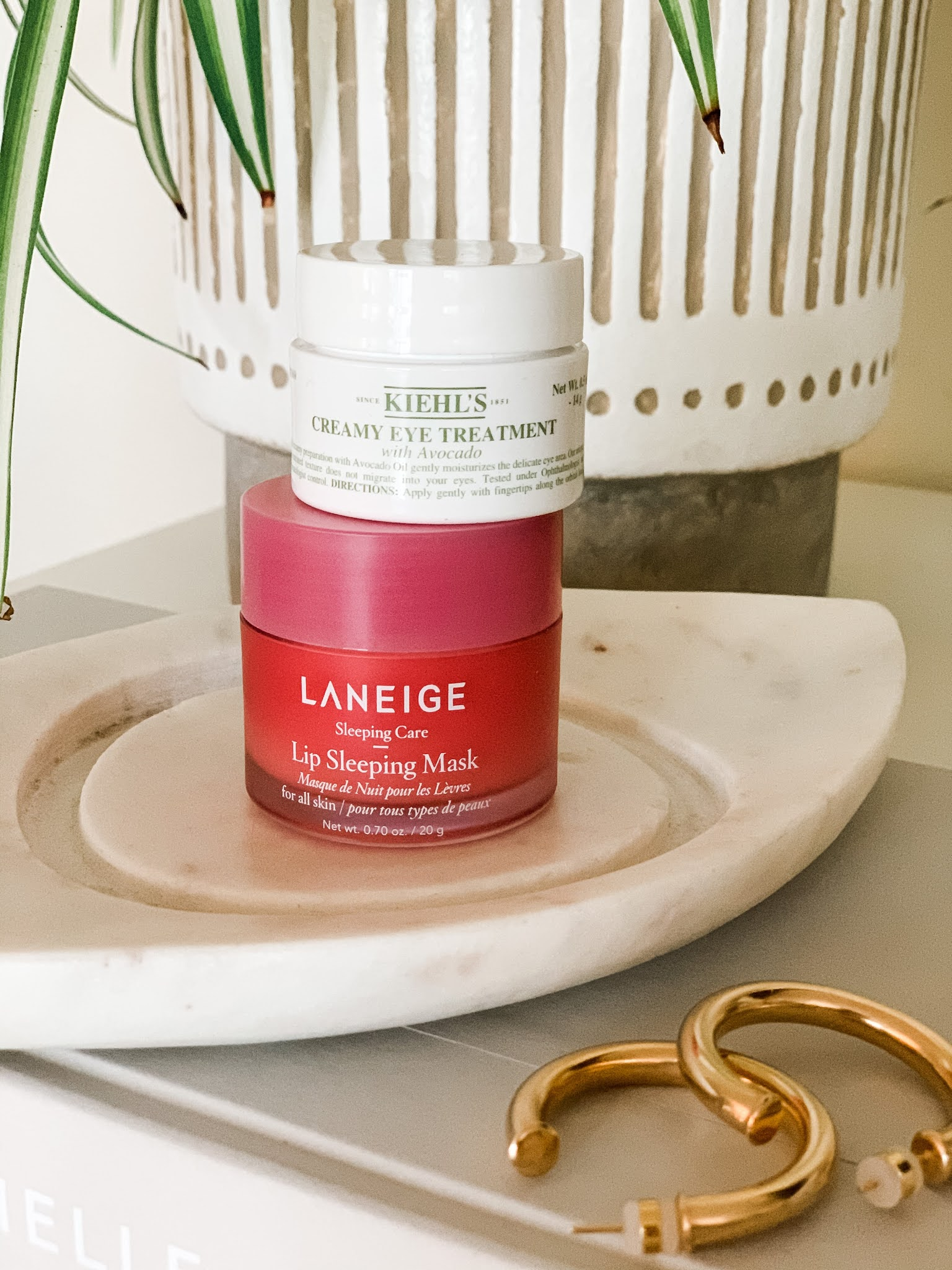 Laneige lip mask and Kiehl's eye cream
