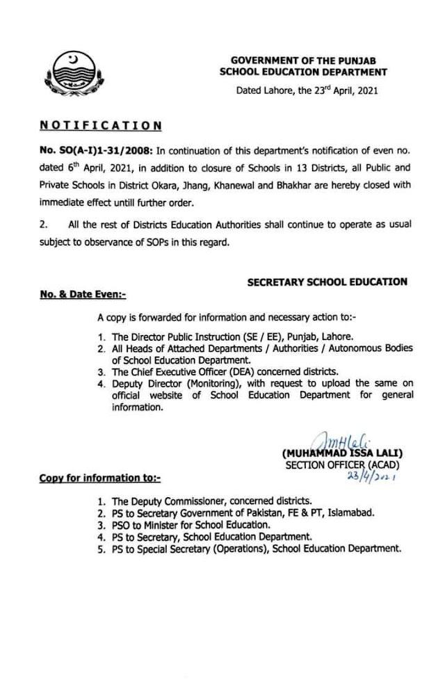 CLOSURE OF SCHOOLS IN OKARA, JHANG, KHANEWAL, BHAKAR
