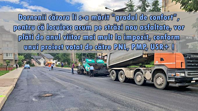 Dornenii care locuiesc pe străzile nou asfaltate vor plăti de anul viitor mai mult la impozit, conform unui proiect ce a trecut cu votul consilierilor PNL, PMP și USR+