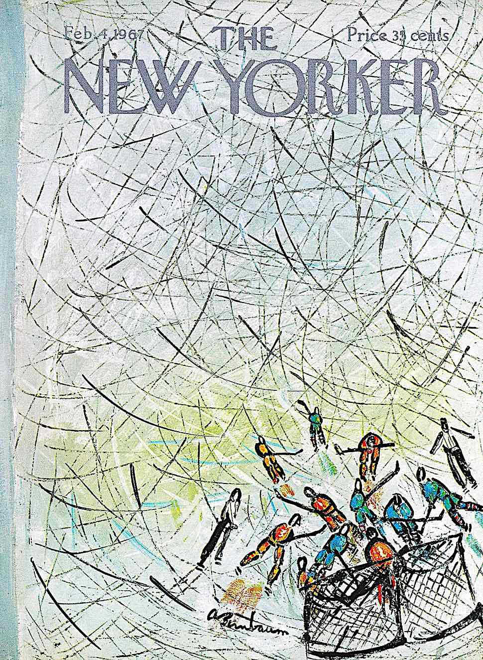 an Abe Birnbaum 1967 illustration about hockey for the February 4 New Yorker Magazine