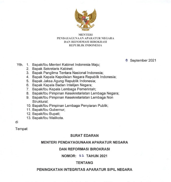 Instansi Pemerintah Diminta Tingkatkan Integritas ASN Melalui Delapan Area