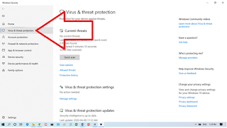 Virus and Threat Protection Menu
