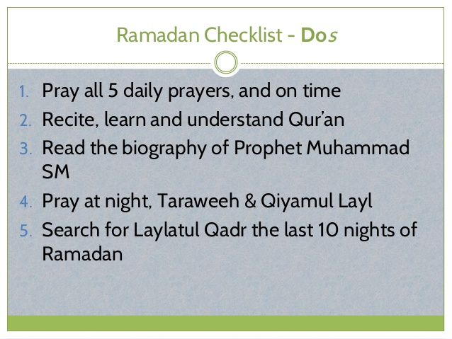 Ramadan Checklist - Do's