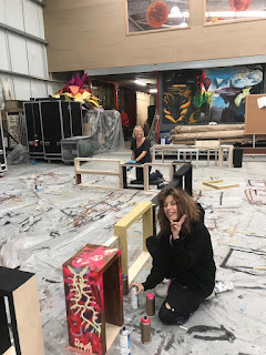 Alissa and Jackie painting the props for Bring Me The Horizon's upcoming show