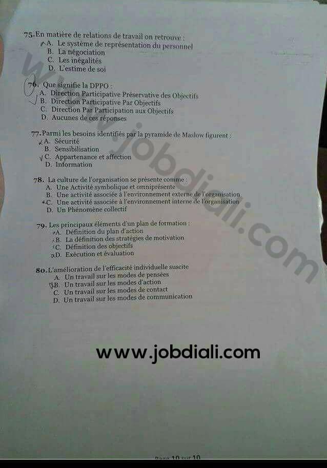 Exemple Concours de Recrutement des Techniciens de 3ème grade (échelle 9) - Ministère de la Santé