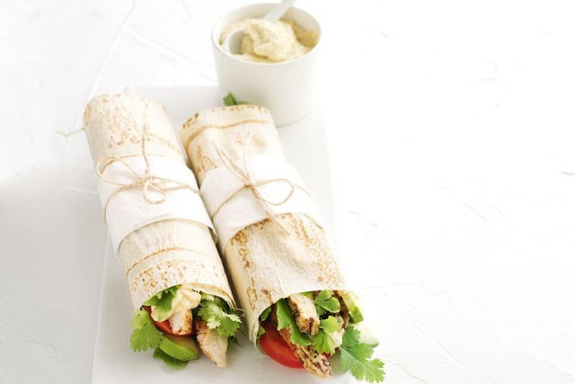 these sumac chicken and hummus wraps are packed with fresh flavours SUMAC CHICKEN AND HUMMUS WRAPS RECIPE