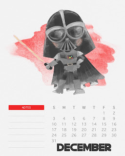 Calendario 2017 de Star Wars para Imprimir Gratis  Diciembre.