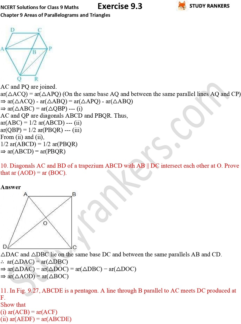 NCERT Solutions for Class 9 Maths Chapter 9 Areas of Parallelograms and Triangles Exercise 9.3 Part 7