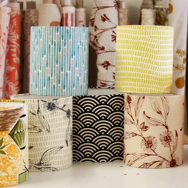 3Chooks Lampshades featuring indigenious textiles and botanical prints