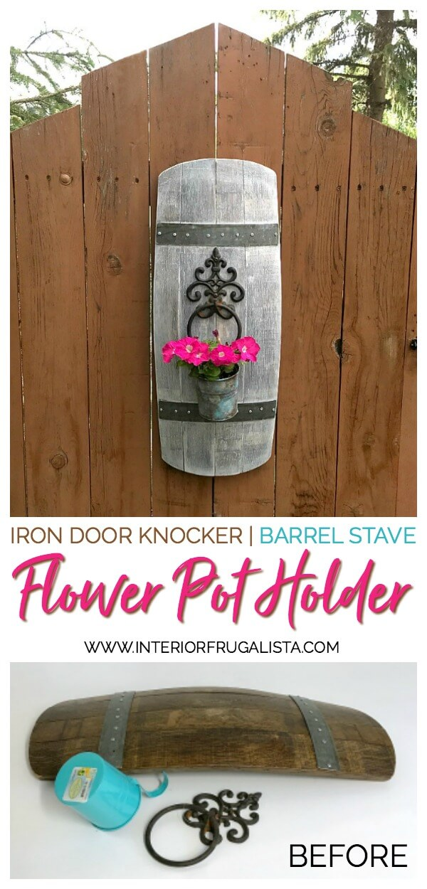 Wrought Iron Door Knocker Wine Barrel Stave Flower Pot Holder