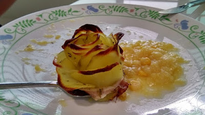 Potato Rose and cream corn on the plate