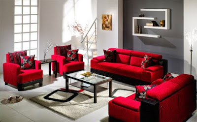 dekorasi sofa merah