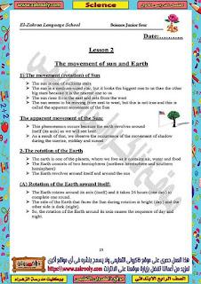 حصريا مذكرة ساينس للصف الرابع الابتدائي الترم الأول من اعداد مدرسة الزهراء للغات (حصريا)