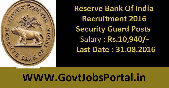 Reserve Bank Of India Recruitment for Security Guards 2016 ...