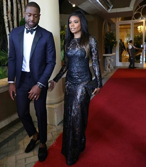 Gabrielle Union in Glittering Lace Gown