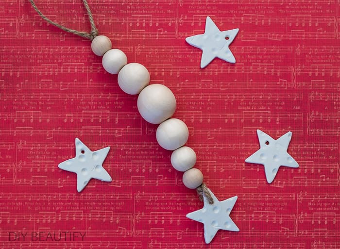 clay star and wood bead ornament