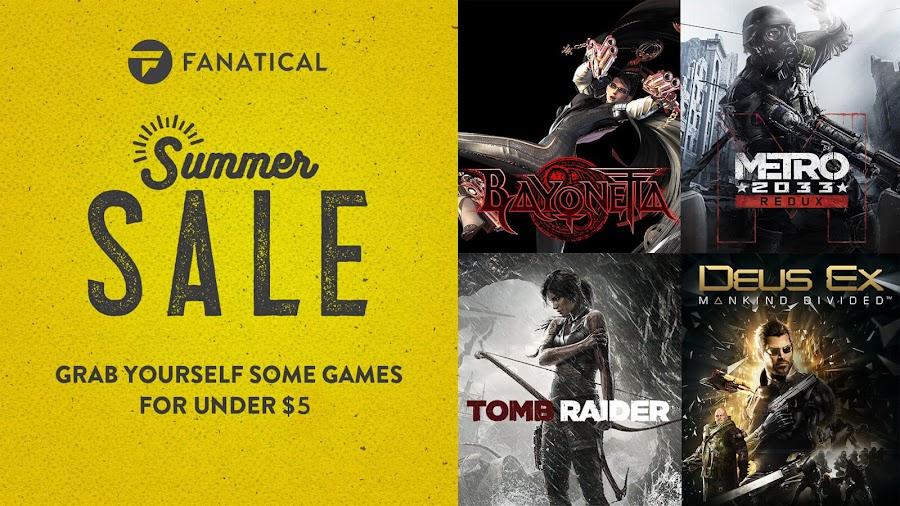 fanatical summer sale 2019 steam games under $5 bayonetta metro 2033 tomb raider deus ex