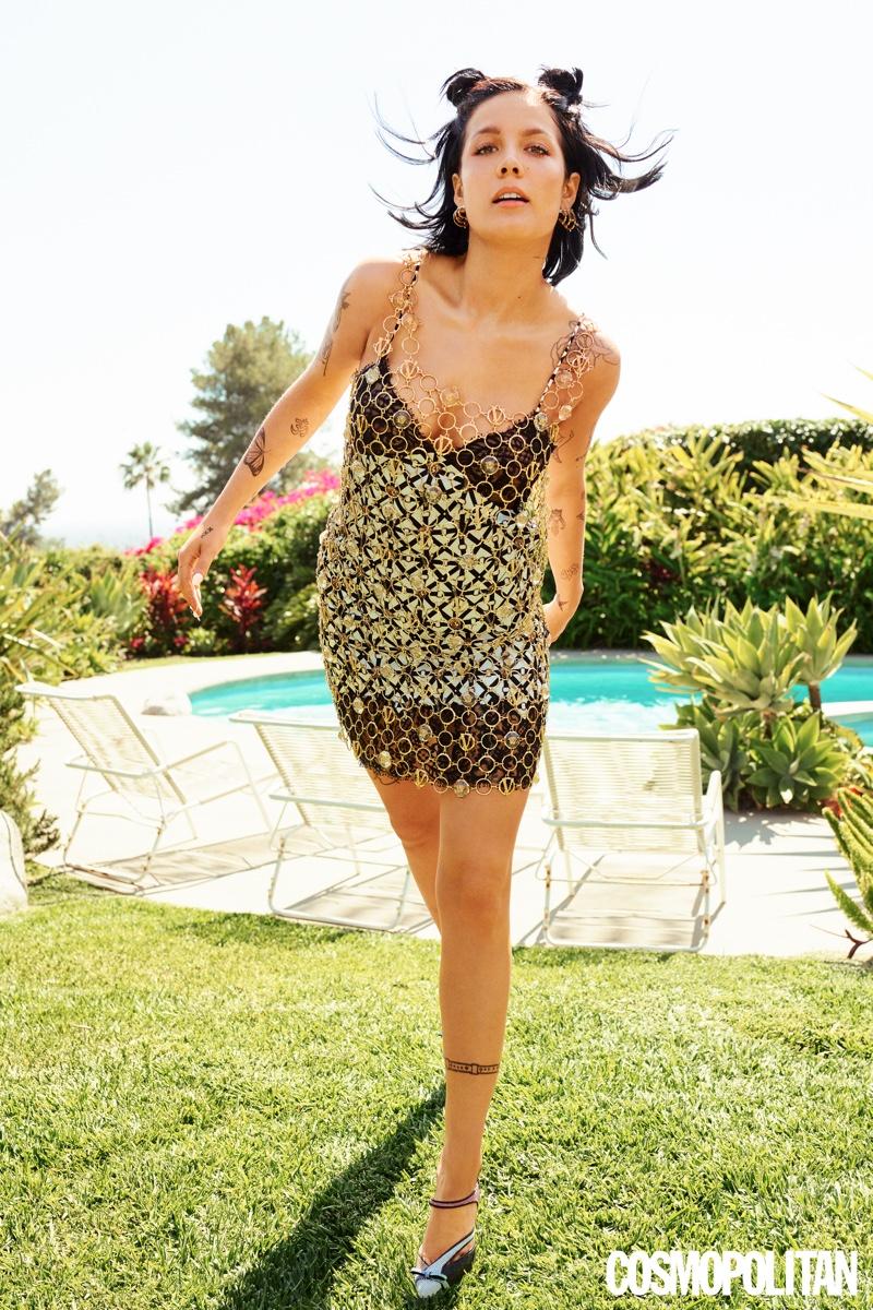 Singer Halsey wears Versace dress and gold chain with Marco de Vincenzo heels