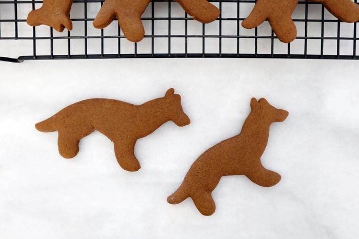 German Shepherd shaped gingerbread cookies