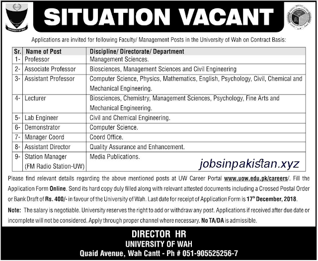 Advertisement for University of Wah Jobs 2018