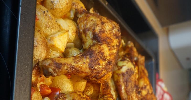 Hähnchen mit Kartoffeln und Kürbis