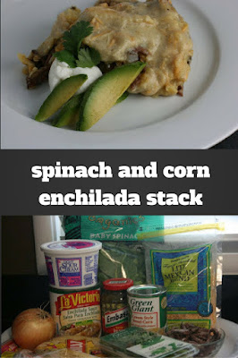 This is a tangy Vegetarian enchilada stack made in the crockpot. I like the green sauce and the sliced jalapenos -- it really wakes up the flavor without adding grease or lots of calories. Great Meatless Monday option!