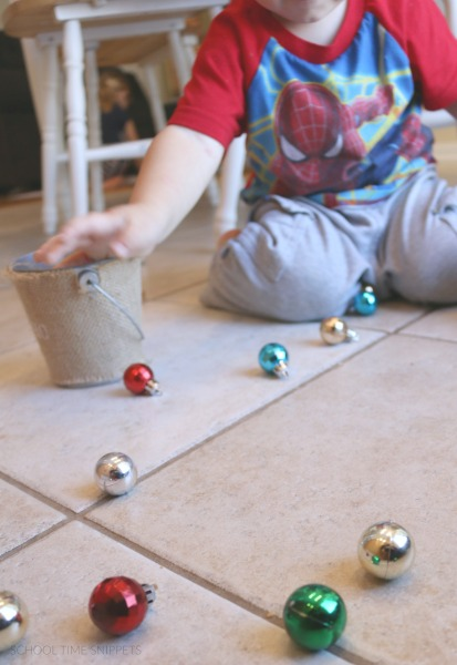 christmas bulb transfer for fine motor skills development